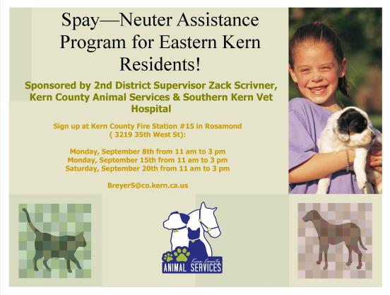 District 2 Rosamond spay neuter
